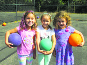 Lee Road Elementary students (from left) Olivia Schwint, Danica O'Leary and Amelia Voutsinas were excited to try new PlayFit games.