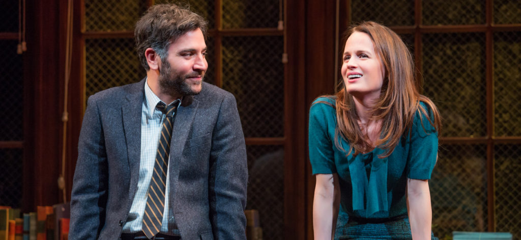 Josh Radnor and Elizabeth Reaser star as Aaron and Joan in The Babylon Line (Photo by Jeremy Daniel)